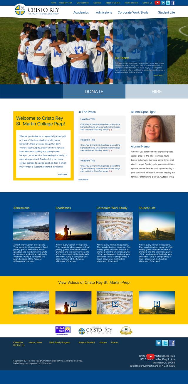 cristorey homepage redesign copy